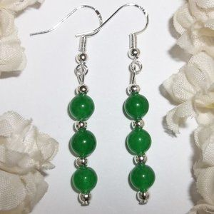 Faux Emerald Green Earrings Set Handmade NWT 5117